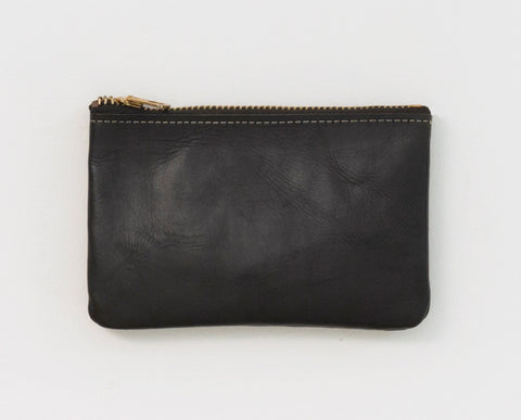 Leather Zip Wallet - Black