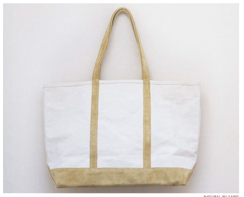 Natural canvas and suede tote
