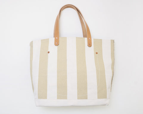 Small Tan Stripe Tote
