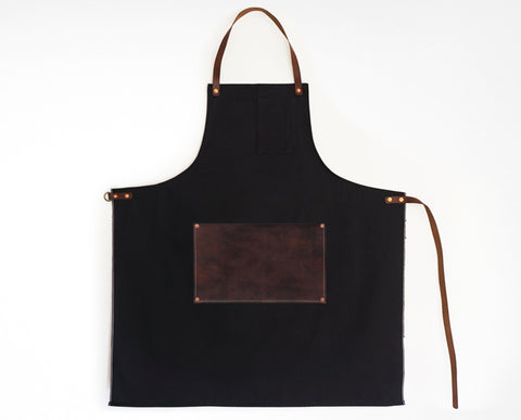 Leather Lap Apron - Black