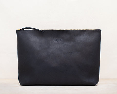 Oversized Leather Zip Pouch - Black