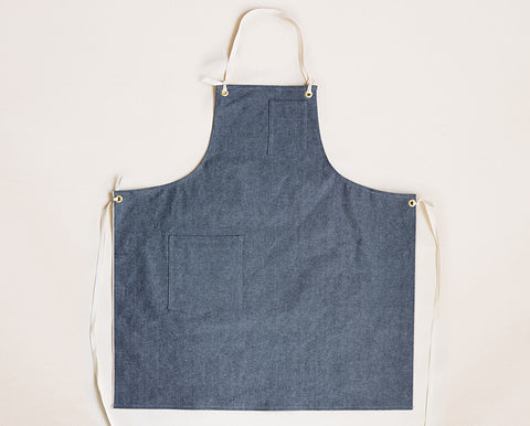 Cloth Strap Standard Apron - Light Blue Selvage Canvas