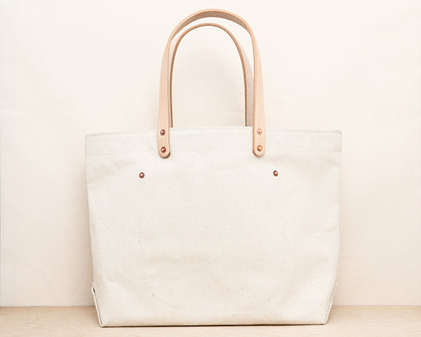 24oz Natural Canvas Tote w/ Leather Pocket
