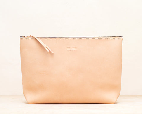 Oversized Leather Zip Pouch - Natural
