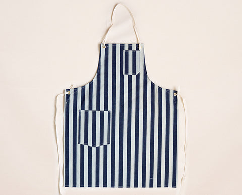 Cloth Strap Standard Apron - Wide Stripe