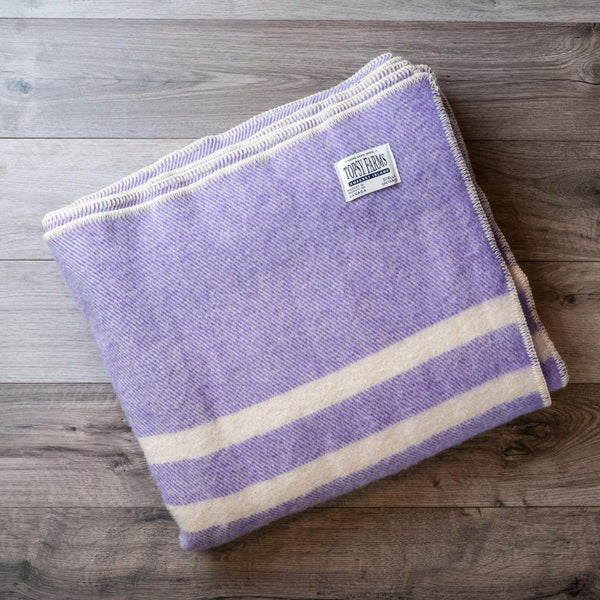 Topsy Farms Mauve Tweed with White Stripes Blanket