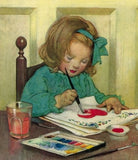 Vintage little girl painting
