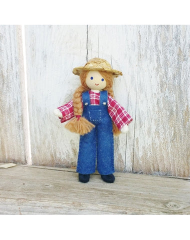 Dollhouse Farmer Doll Girl-Elves & Angels