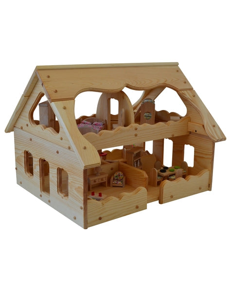 Natural Wooden Our Maine Dollhouse Elves Angels