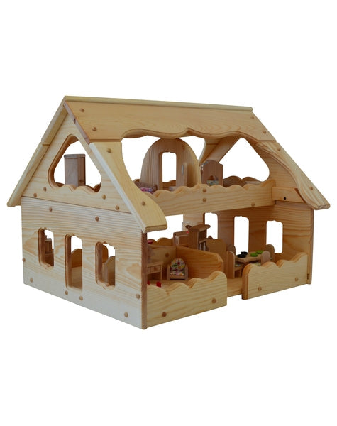 Natural Wooden Our Maine Dollhouse-Elves & Angels