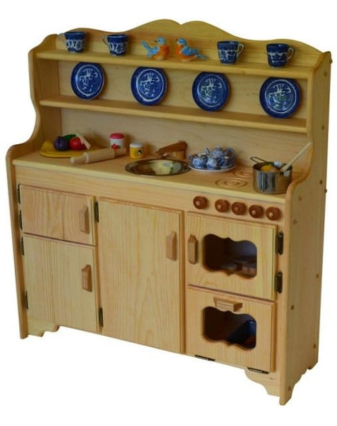 Wooden Play Kitchen grampie's kitchen deluxe | elves & angels heirloom quality wooden toys