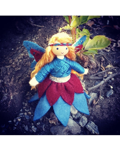 Woodland Fairy Doll (blue & maroon)-Elves & Angels