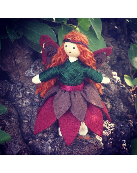 Woodland Fairy Doll (red & brown)-Elves & Angels