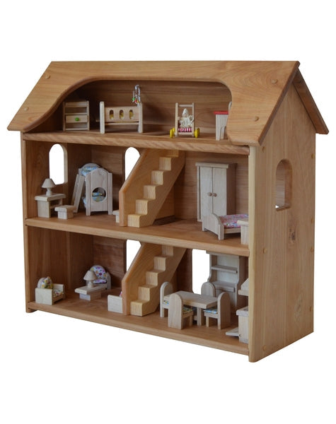 Seri's Dollhouse in Hardwood with 5 Rooms of Furniture Set-Elves & Angels