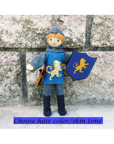 Dollhouse Castle Knight Doll (blue tunic)-Elves & Angels