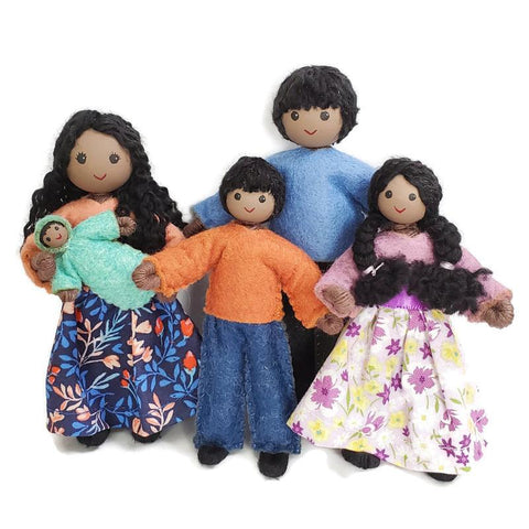 Natural Dollhouse Family (dark skin)-Elves & Angels