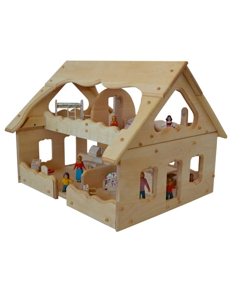 Natural Wooden Our Maine Dollhouse in Light Hardwood-Elves & Angels