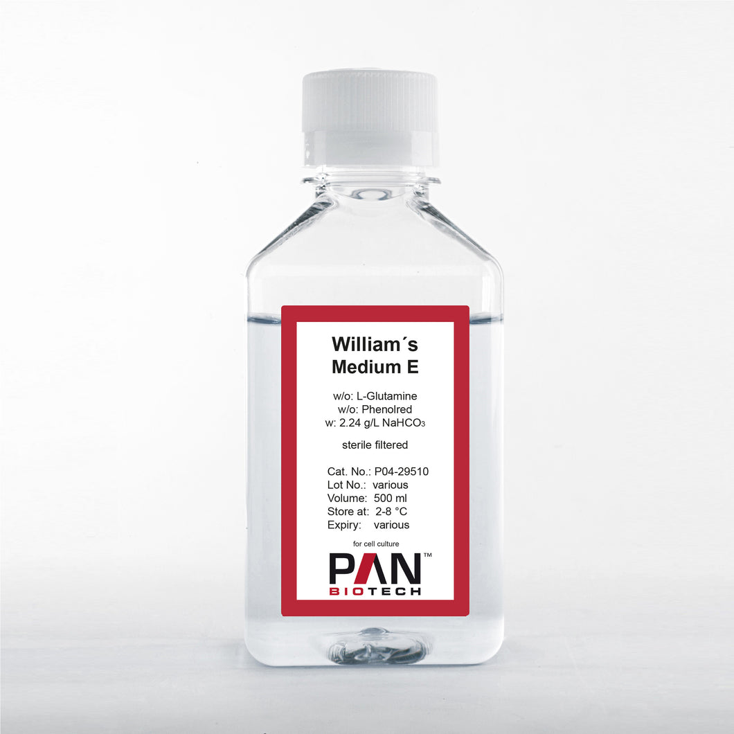 William's Medium E, w/o: L-Glutamine, w/o: Phenol red, w: 2.24 g/L NaHCO3