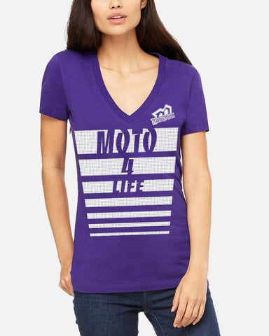WOMENS MOTO 4 LIFE V-NECK TEE - PURPLE
