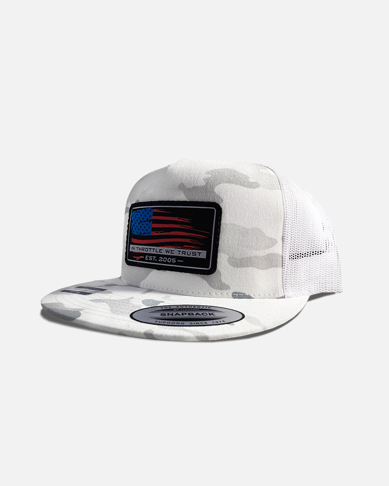 WAVE THE FLAG FLAT BRIM TRUCKER HAT - SNOW CAMO