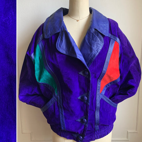 Vintage Purple Suede and Leather Trim Jacket