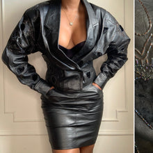 Load image into Gallery viewer, Vintage Leather and Velvet Beaded Skirt Set