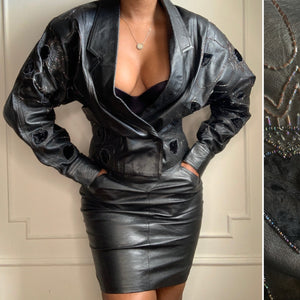 Vintage Leather and Velvet Beaded Skirt Set