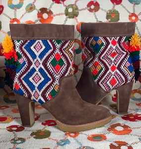 Anthropologie Suede Multicolored Pom Pom Heel Boot