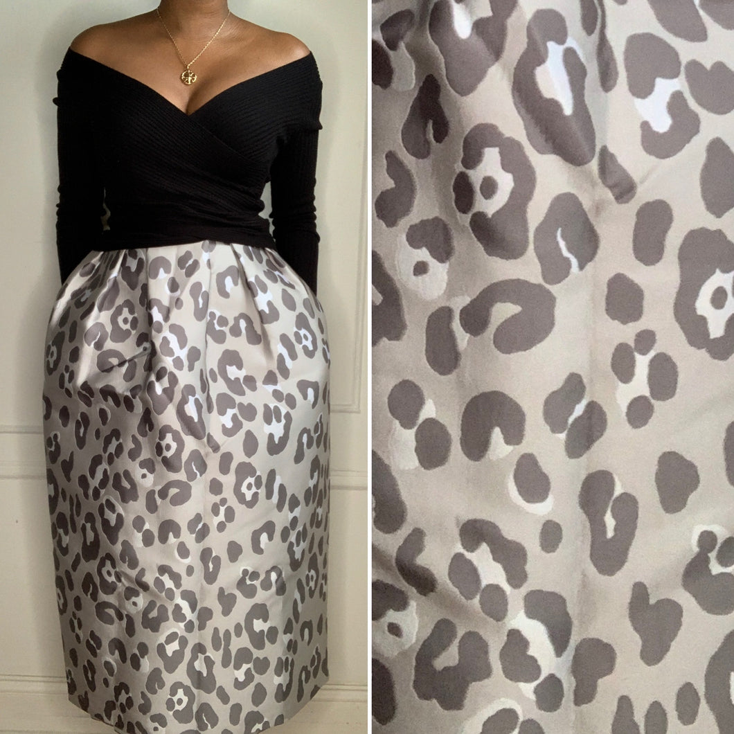 New With Tags! Grey Leopard Ball Midi Skirt