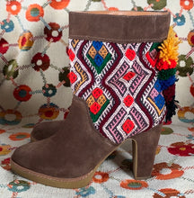 Load image into Gallery viewer, Anthropologie Suede Multicolored Pom Pom Heel Boot