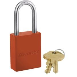 6835LFRED Powder coated aluminum safety padlock, 38mm wide with 38mm tall shackle - Industrial Labelling supplies