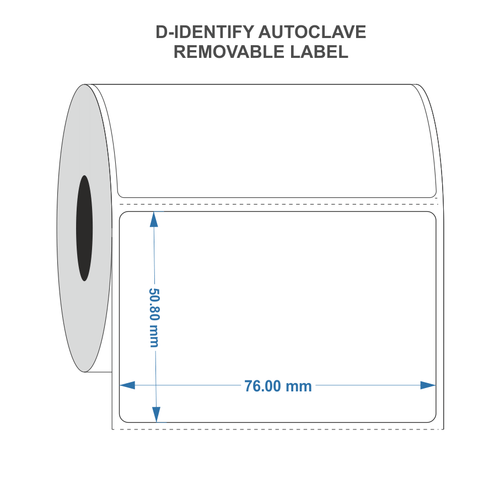 Removable Autoclave Thermal transfer label 76mm x 50.8mm - Industrial Labelling supplies