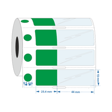 Self Laminating label 9.5dia Circle 25.4mm x 19mm +44.5mm - Industrial Labelling supplies