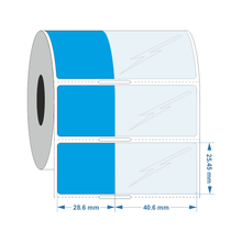 Self Laminating label  28.6mm x 25.4mm +40.5mm - Industrial Labelling supplies