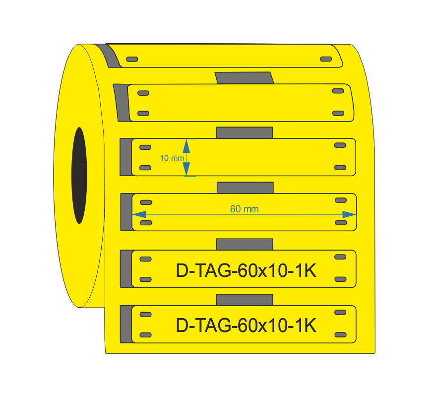 PUR Yellow Cable Tag 60mm x 10mm - Industrial Labelling supplies