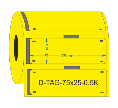D-TAG-75x25-0.5K-YL - Industrial Labelling supplies