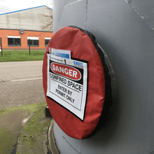 Confined space lockout tool (LARGE) Non Lockable for manholes from 29 to 32 inch - Industrial Labelling supplies