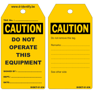 "Copy of ""'DANGER""' Do not operate tags (100 tags/box) - Industrial Labelling supplies"