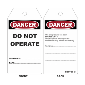 "EXTREME TAG ""'DO NOT OPERATE""'  20 tags/bag - Industrial Labelling supplies"