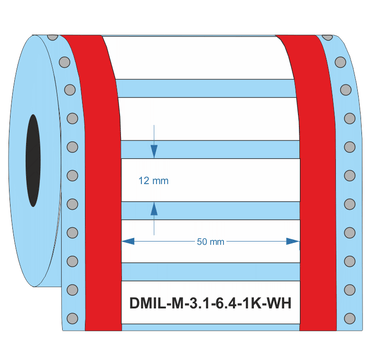 DMIL-M-3:1-6.4-1K-WH - Industrial Labelling supplies