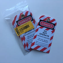 """'DANGER""' Do not operate tags (10 tags/pack) - Industrial Labelling supplies"