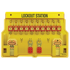 10-Lock Padlock Station, Zenex™ Thermoplastic Padlocks - Industrial Labelling supplies