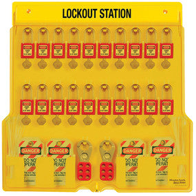 20-lock padlock station, Zenex™ thermoplastic padlocks - Industrial Labelling supplies