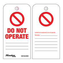 """'DANGER""' Do not operate tags (100 tags/box) - Industrial Labelling supplies"