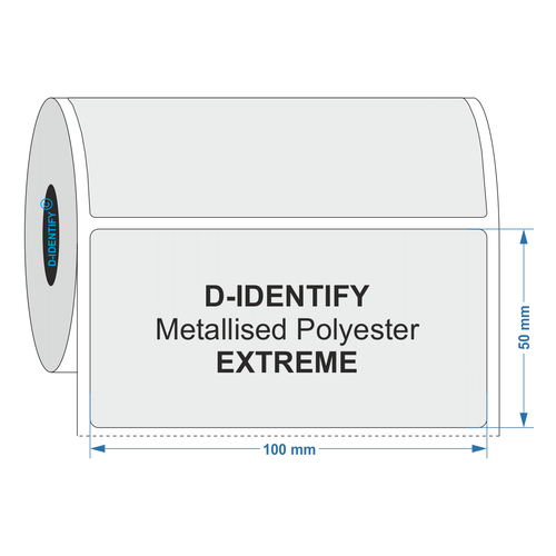 Metallised Polyester label 100mm x 50mm - Industrial Labelling supplies
