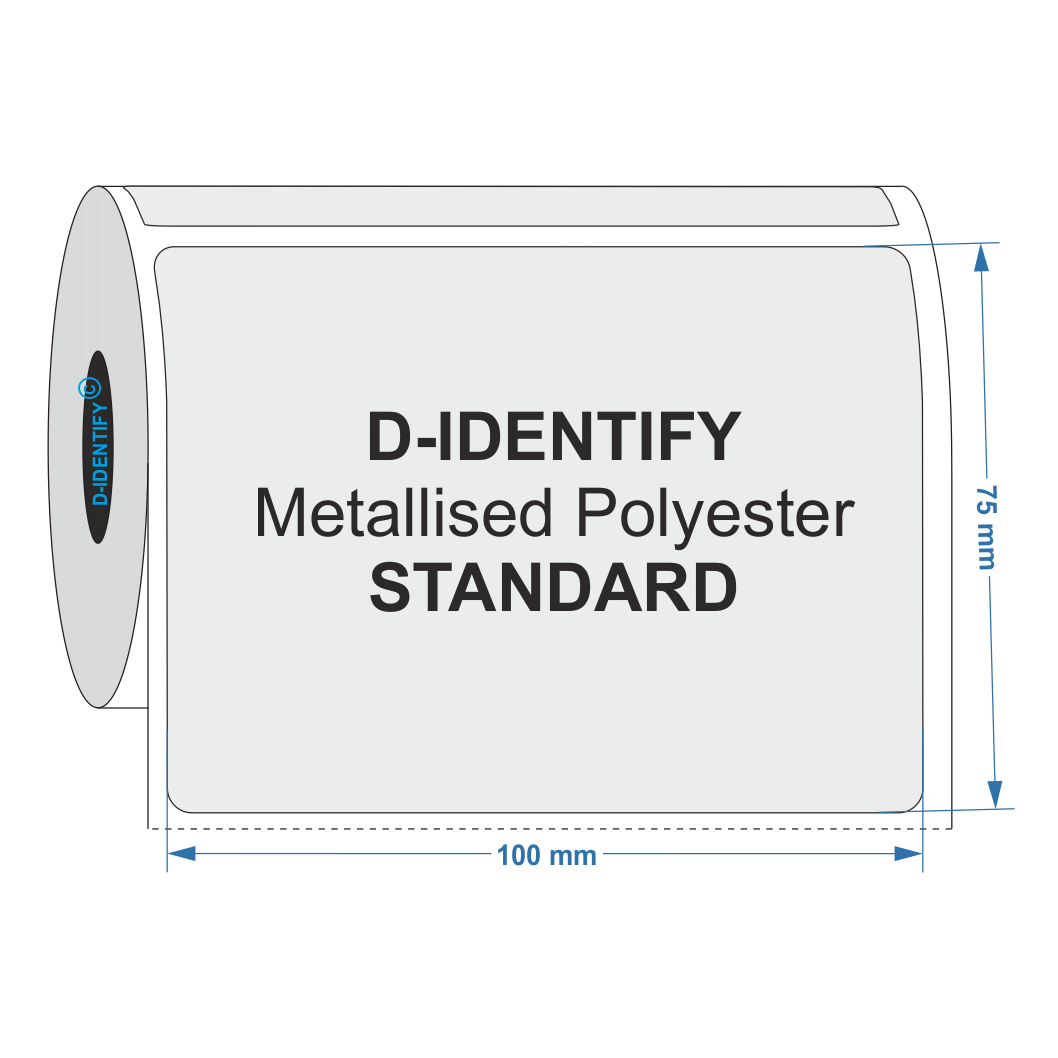 Metallised Polyester label 100mm x 75mm - Industrial Labelling supplies