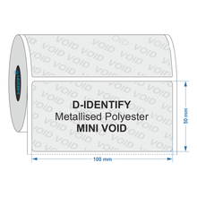 Metallised Polyester Tamper Evident label 100mm x 50mm - Industrial Labelling supplies