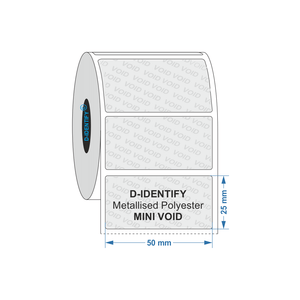 Metallised Polyester Tamper Evident label 50mm x 25mm - Industrial Labelling supplies
