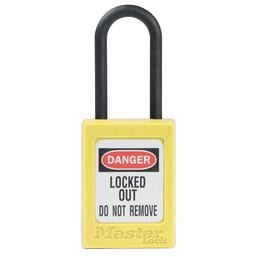 S32 Dielectric Zenex™ thermoplastic safety padlock, 35mm wide with 38mm tall nylon shackle, non-key retaining - Industrial Labelling supplies