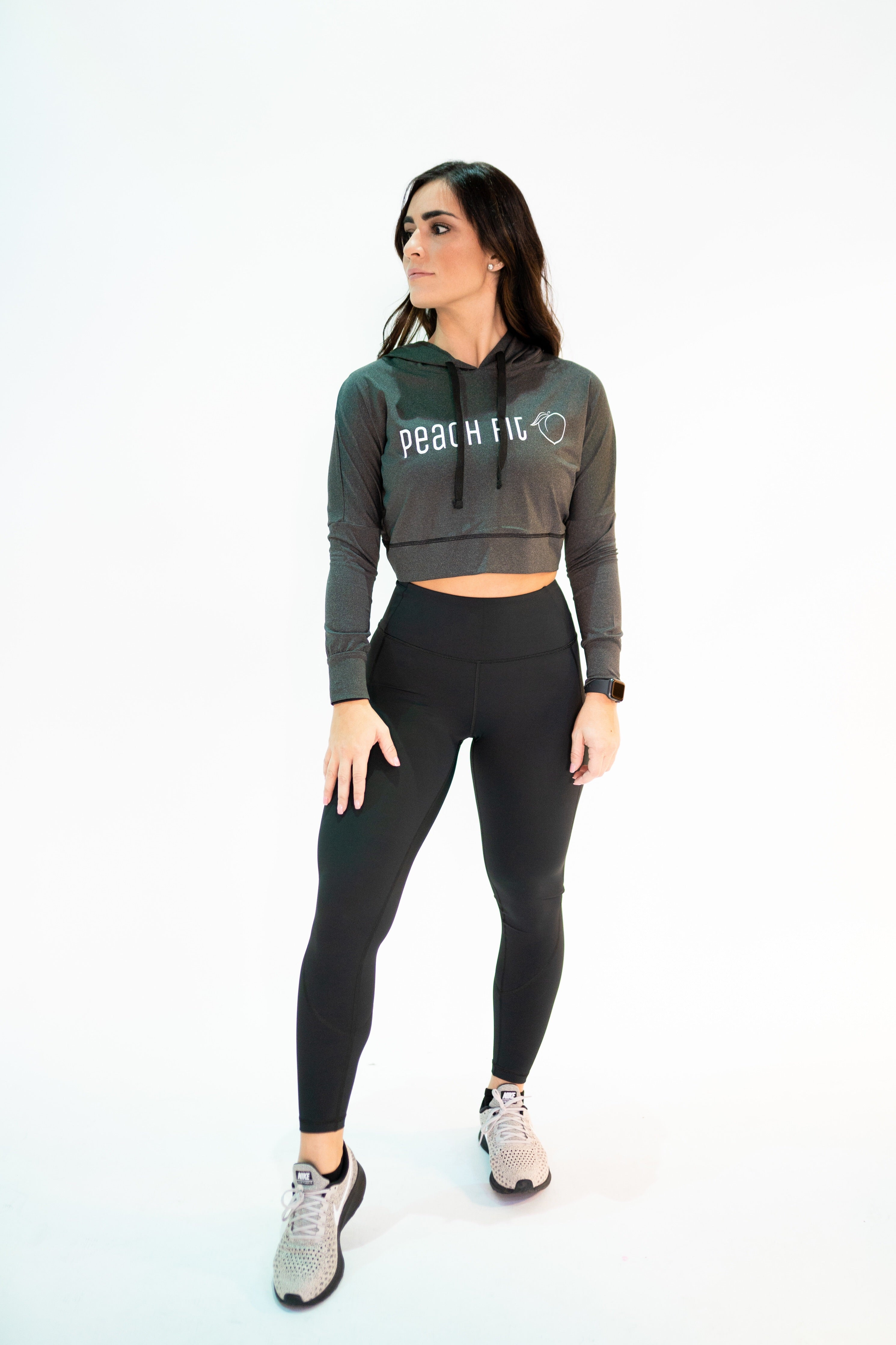 5c53c55eb6a669 Shrunken Charcoal Workout Crop Top Hoodie – Peach Fit Clothing